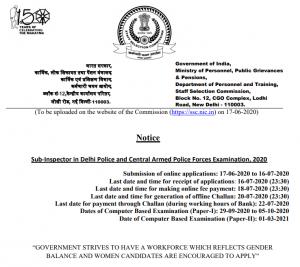 SSC CPO Notification 2020 Out: 1564 SI and ASI Vacancies Check Exam Dates, Notification PDF, Exam Pattern, Syllabus_60.1