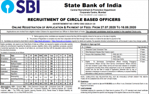 SBI CBO 2020 Notification Out: Last day to Apply For Circle Officer vacancies_60.1