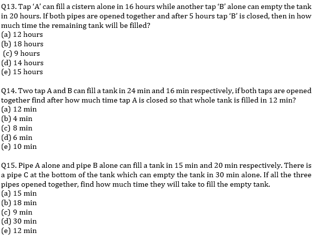 IBPS PO Prelims Quantitative Aptitude Mini Mock 25- Mixture & Allegation, Time & Work and Pipes & Cisterns_90.1
