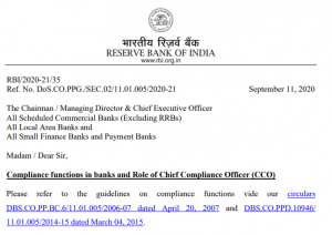 RBI Released a Notice on Compliance Functions in Banks and Role of Chief Compliance Officer (CCO): Check Here Details_60.1