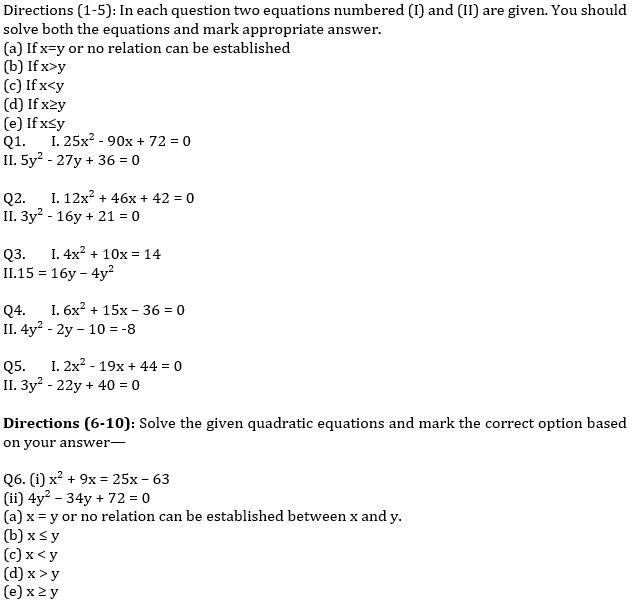 IBPS PO Prelims Quantitative Aptitude Mini Mock 35- Quadratic Inequalities_50.1