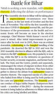The Hindu Editorial Vocabulary of 28 September- Battle for Bihar_50.1