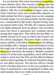 The Hindu Editorial Vocabulary of 28 September- Battle for Bihar_60.1